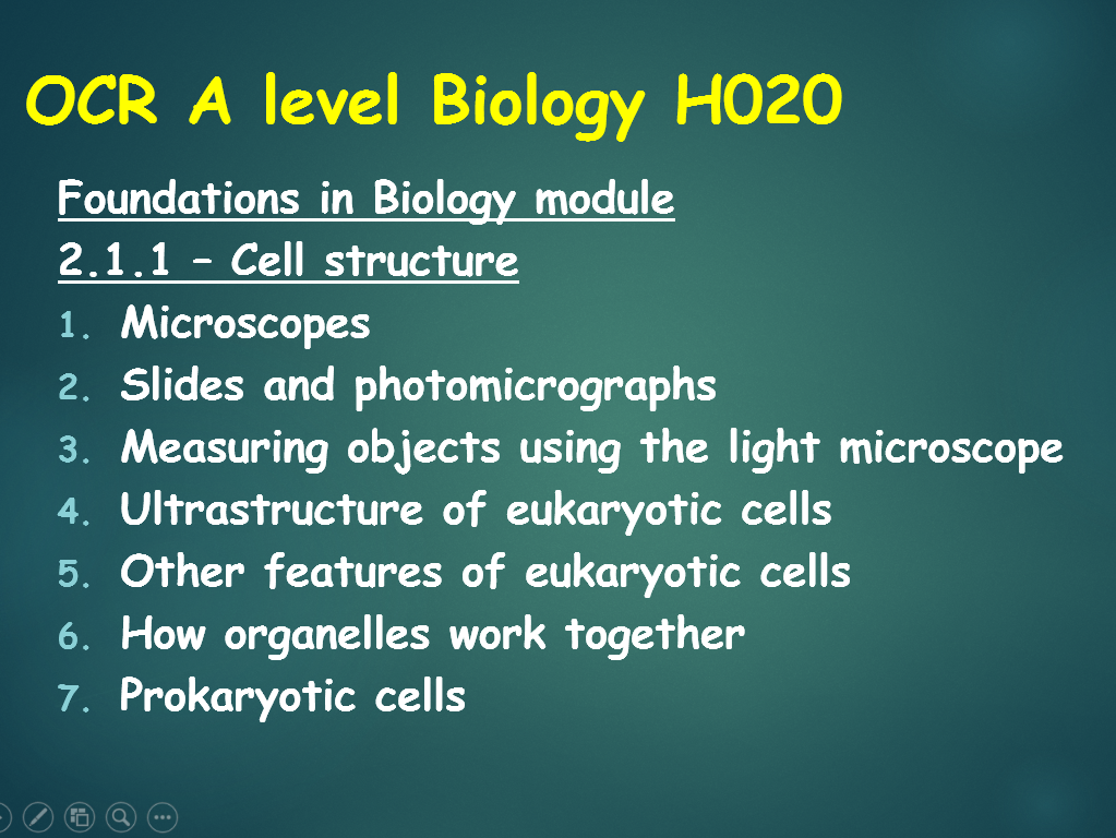 OCR A level Biology (H020) - 2.1.1 Cell structure series of lessons