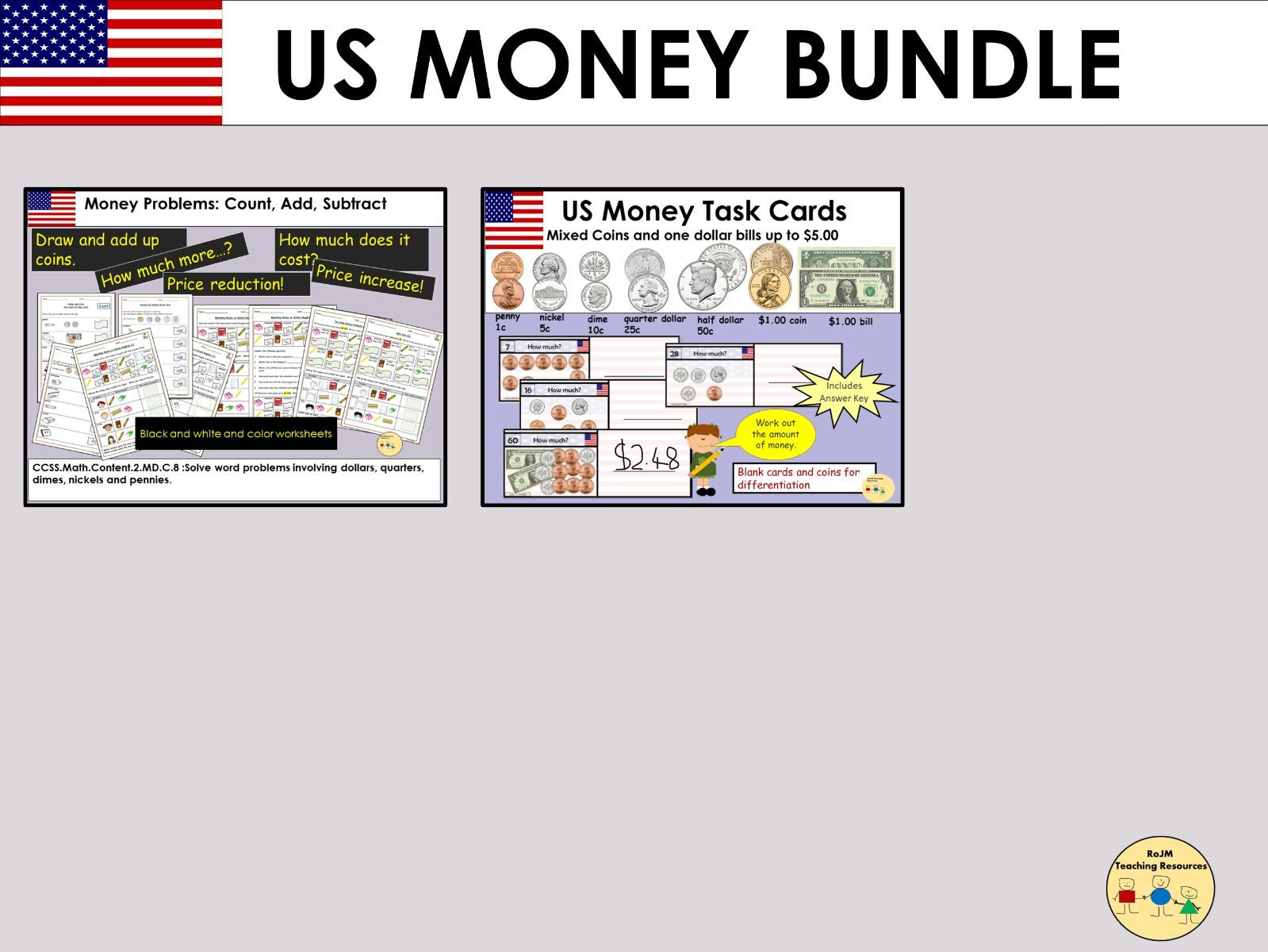 US Money Worksheets Task Cards Bundle