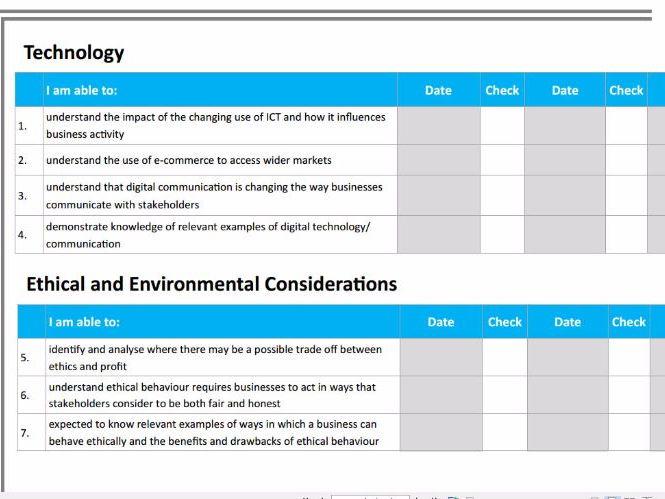 AQA GCSE Business (9-1) Progress Check - Self-assessment