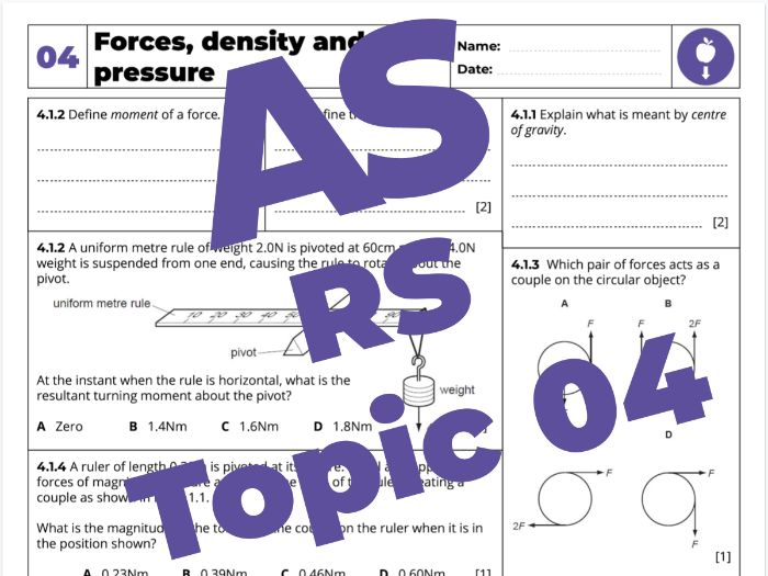 AS Physics 9702 - Revision Sheet - 04. Forces, density and pressure