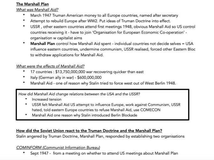 History GCSE AQA The Cold War Notes