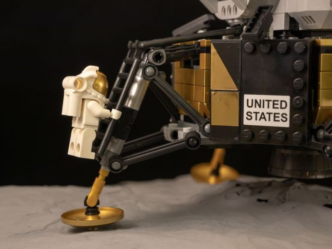 Posters of the moon landing using Lego
