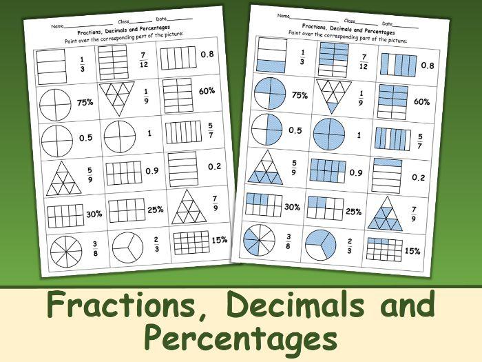 Fractions, Decimals and Percentages Worksheet