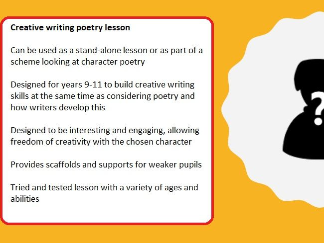 Poetry and creative writing full lesson (character poems)