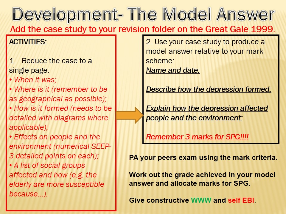 WJEC B Year 11 REVISION 5) Depressions and a Model Answer