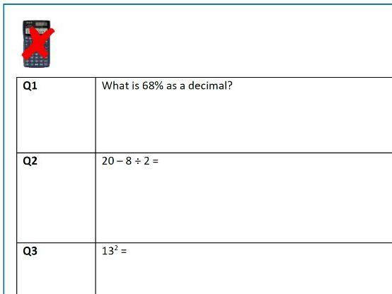 Functional Skills Non Calculator Paper Maths Level 1