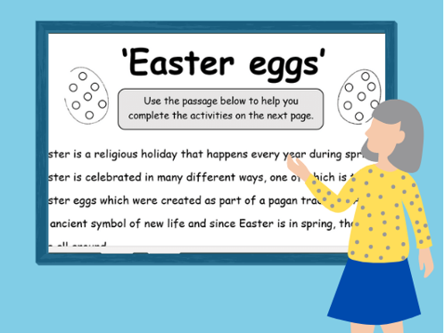 Easter Literacy Bundle - 2 Comprehensions, Poetry Templates, Word Searches