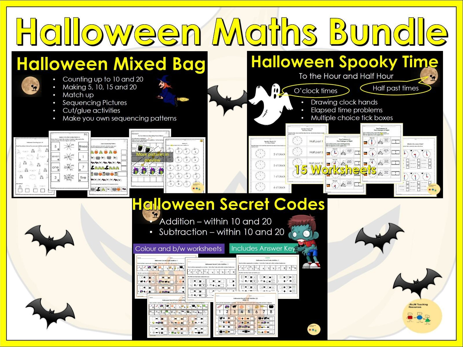 Halloween Counting, Addition/Subtraction, Telling the time, Patterns/Sequencing Worksheets BUNDLE