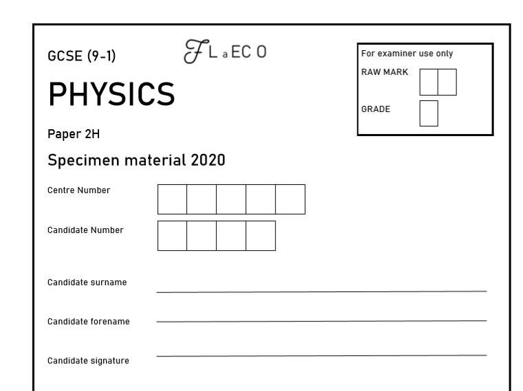 GCSE (9-1) [NEW] Physics Practice Paper 2H