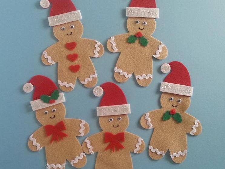 Five Little Christmas Gingerbread Men Felt Board Set Digital Pattern
