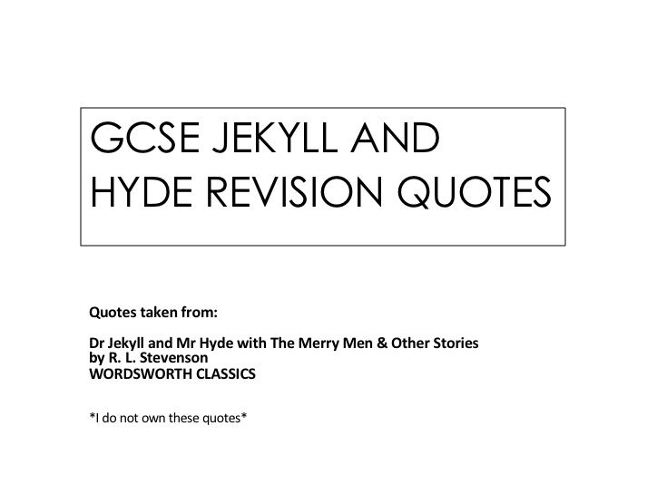 GCSE English Dr Jekyll and Mr Hyde Quote Bank