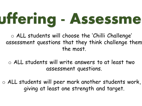 KS3 assessment on 'suffering' including planning sheets, leveled questions and success criteria