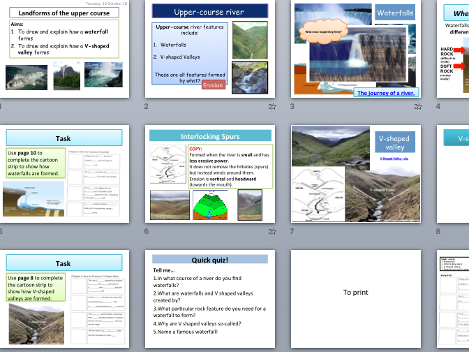 Landforms of river's upper course - waterfalls, V-shaped valleys (KS4 Physical Landscapes in the UK)