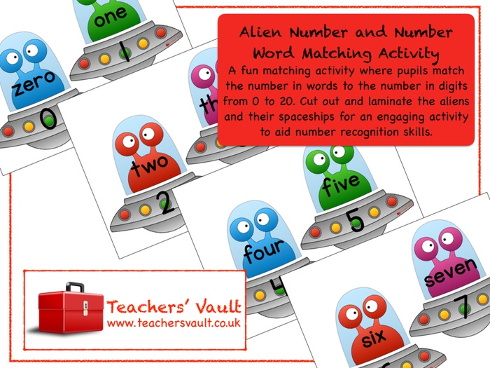 Alien Number and Number Word Matching Activity
