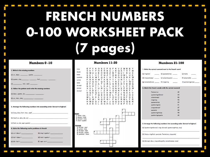 French Numbers 0-100 Worksheet Pack (7 pages)