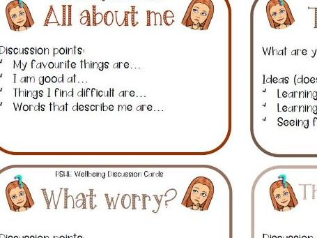 PSHE Wellbeing Discussion Cards