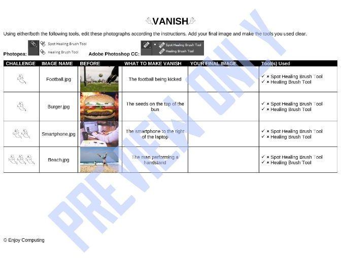 Vanish Exercises (Adobe Photoshop CC/Photopea)