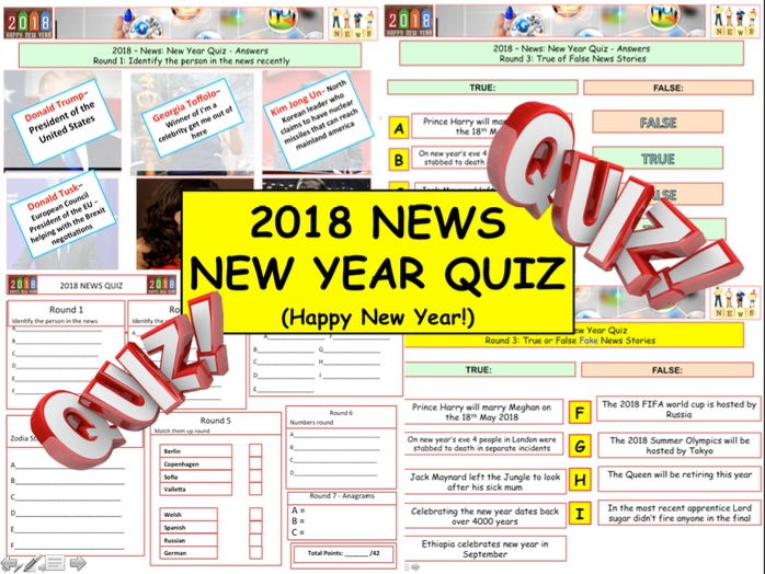 2018 - New Year News Quiz:  Back to School - 7 rounds and over 40 Questions.