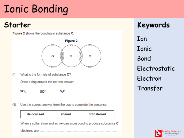 AQA Chapter 2 - Lesson 2 - Ionic Bonding