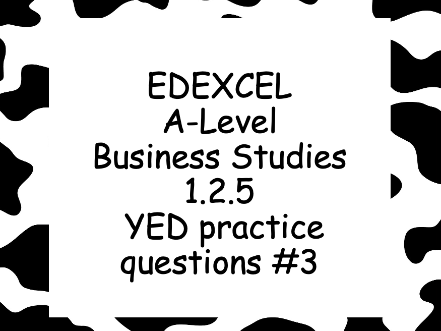 EDEXCEL Alevel Business 1.2.5 YED practice question worksheet #3  Income elasticity of demand