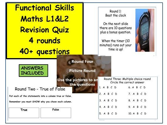 functional  skills maths revision quiz 4 rounds with answers. No prep.