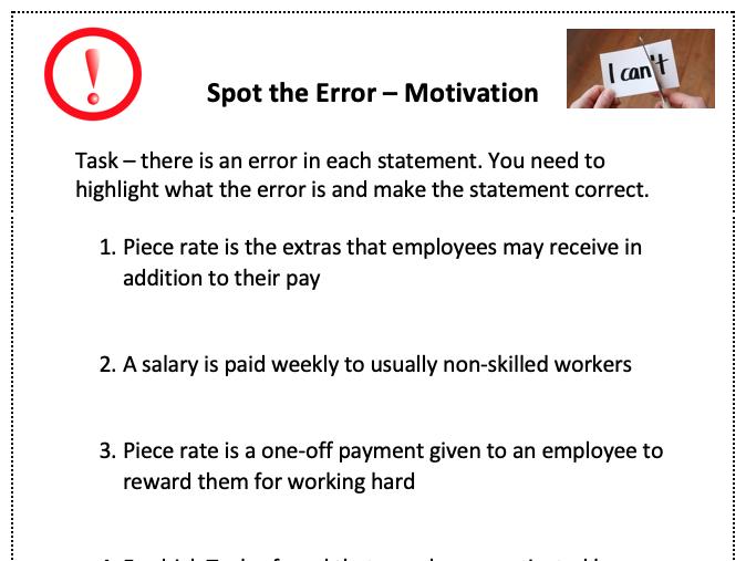 Motivation - Spot the error (Starter)