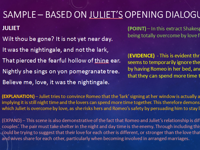 language techniques romeo and juliet In act 2 scene 2 of romeo and juliet, juliet famously says:  can also be linked  to the other key stage 4 materials that look in detail at character and language.