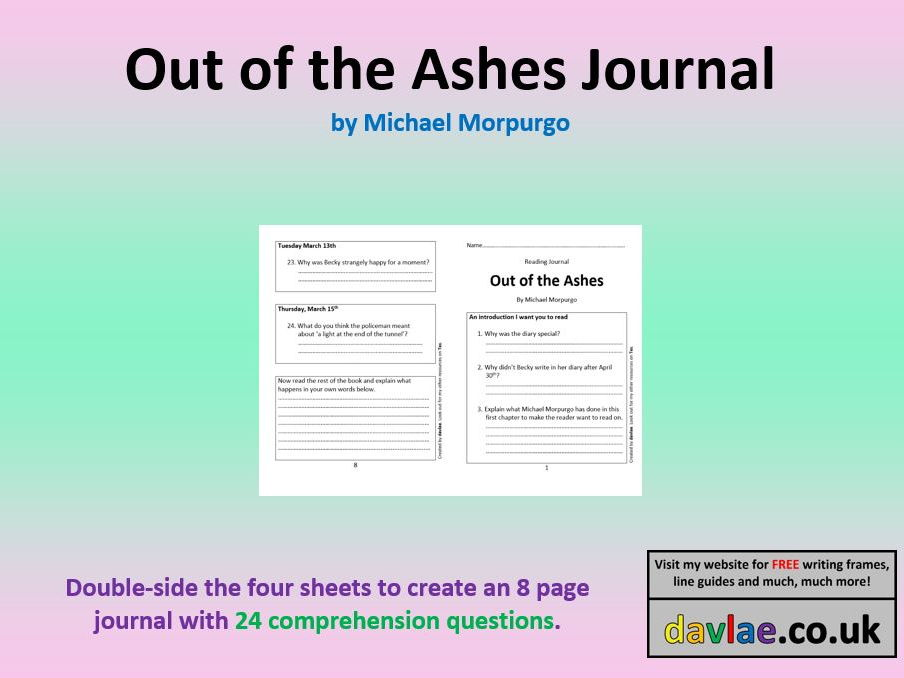 Out of the Ashes by Michael Morpurgo Reading Journal