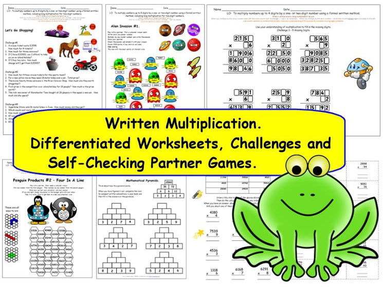 Y5 Y6 Written Multiplication 4-digit x 1 or 2-digit.  Differentiated worksheets, challenges & games.