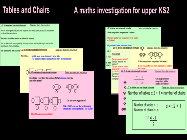 Maths Investigation: Tables and Chairs: Introduction to algebra for upper KS2