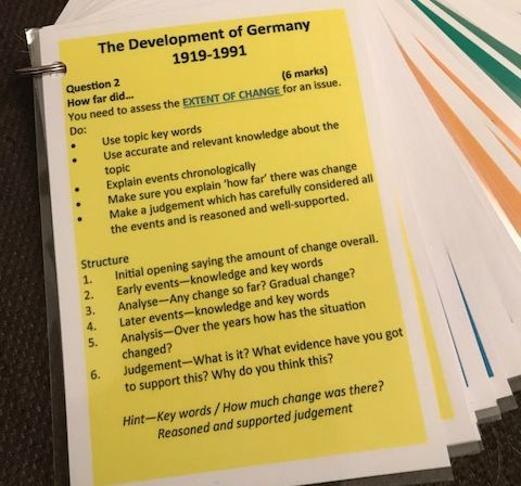 Eduqas / WJEC GCSE History GERMANY 1919-1991 QUESTION flashcards & posters