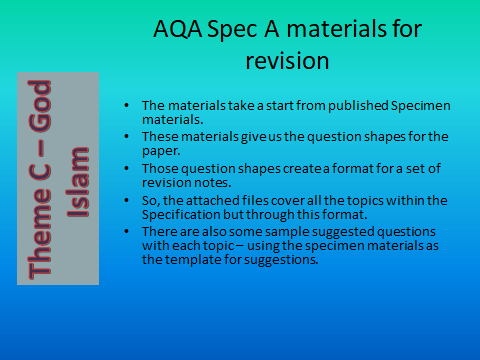 AQA GCSE (9-1) RS Spec A - Revision materials - Theme C Existence of God - Islam