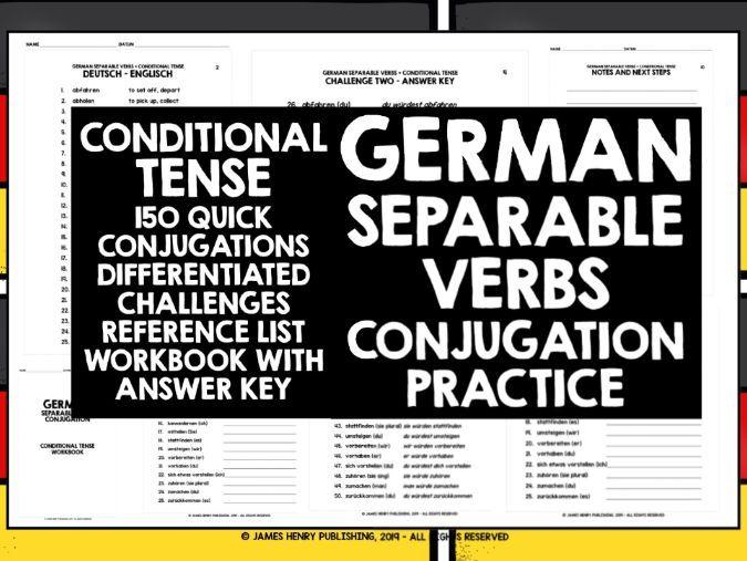 GERMAN SEPARABLE VERBS CONJUGATION PRACTICE #5