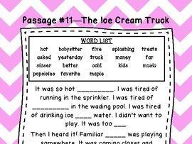 First Grade Cloze Reading Passages Set B (#11-20)