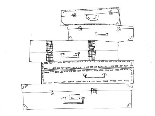 Suitcases, Packing, Holidays: Colouring Page