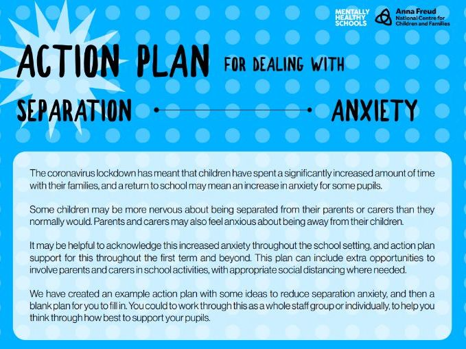 Action plan for managing separation anxiety
