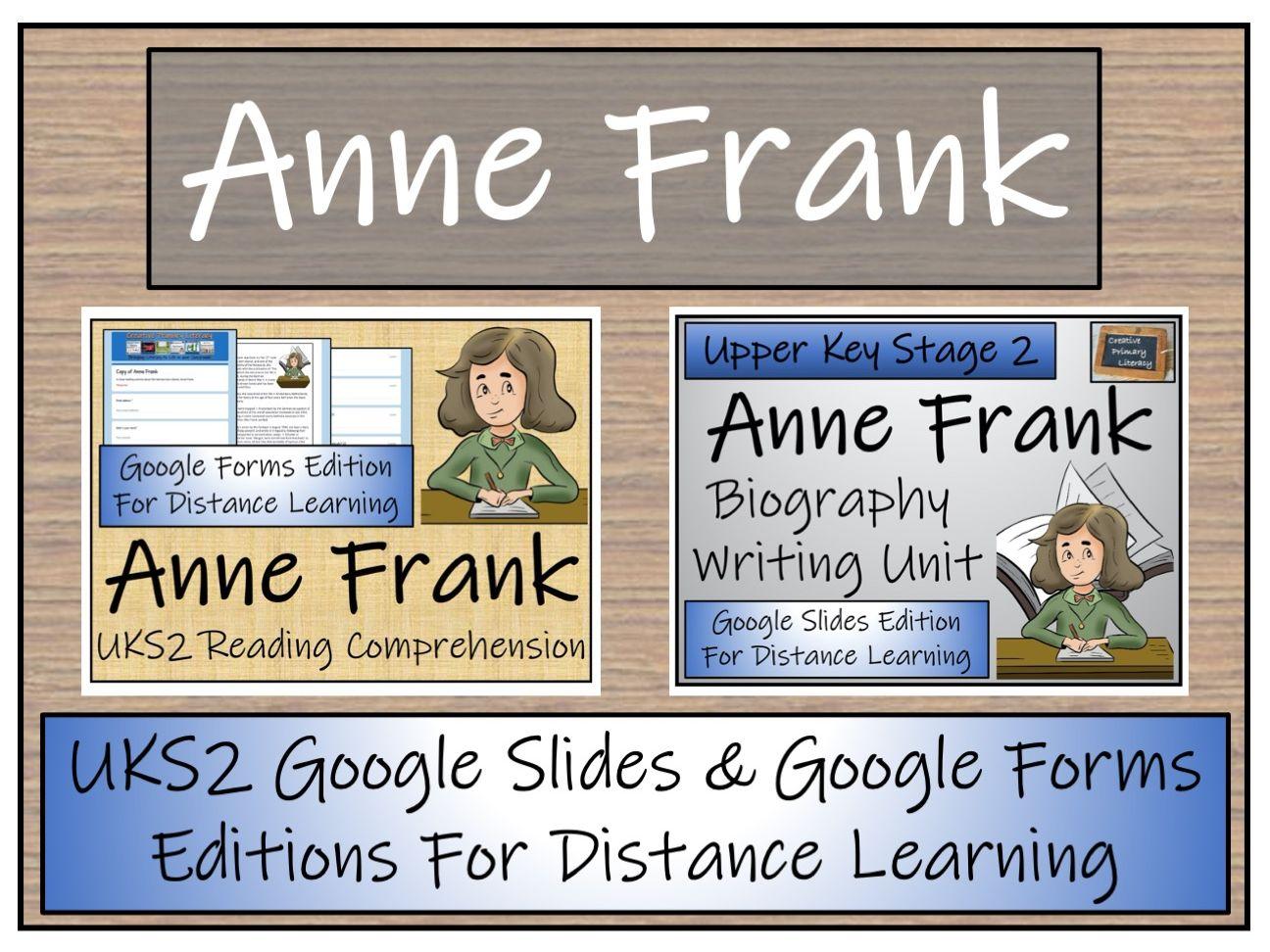 UKS2 Anne Frank Biography & Reading Comprehension Distance Learning Bundle