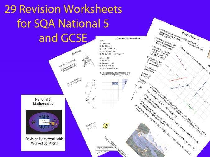 National 5 Mathematics Revision Homework with Worked Solutions