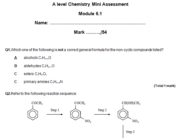 OCR A level Chem Module 6.1 Aromatic compounds, carbonyls and acids assessment and self-assessment