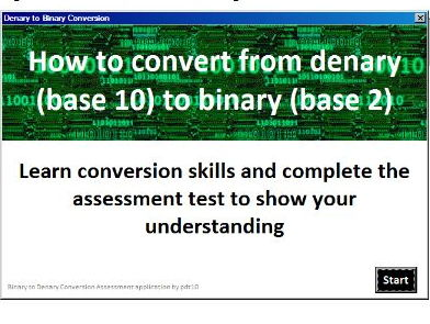 Denary to Binary Conversion Assessment