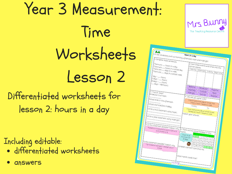 2. Time: hours in a day worksheets (Y3)
