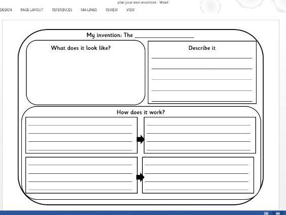 KS1 Invention planning sheet