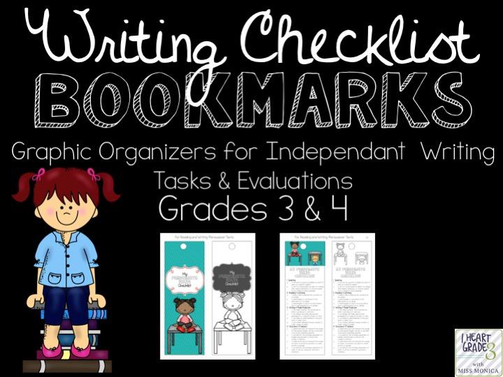 Writing Checklist Bookmarks