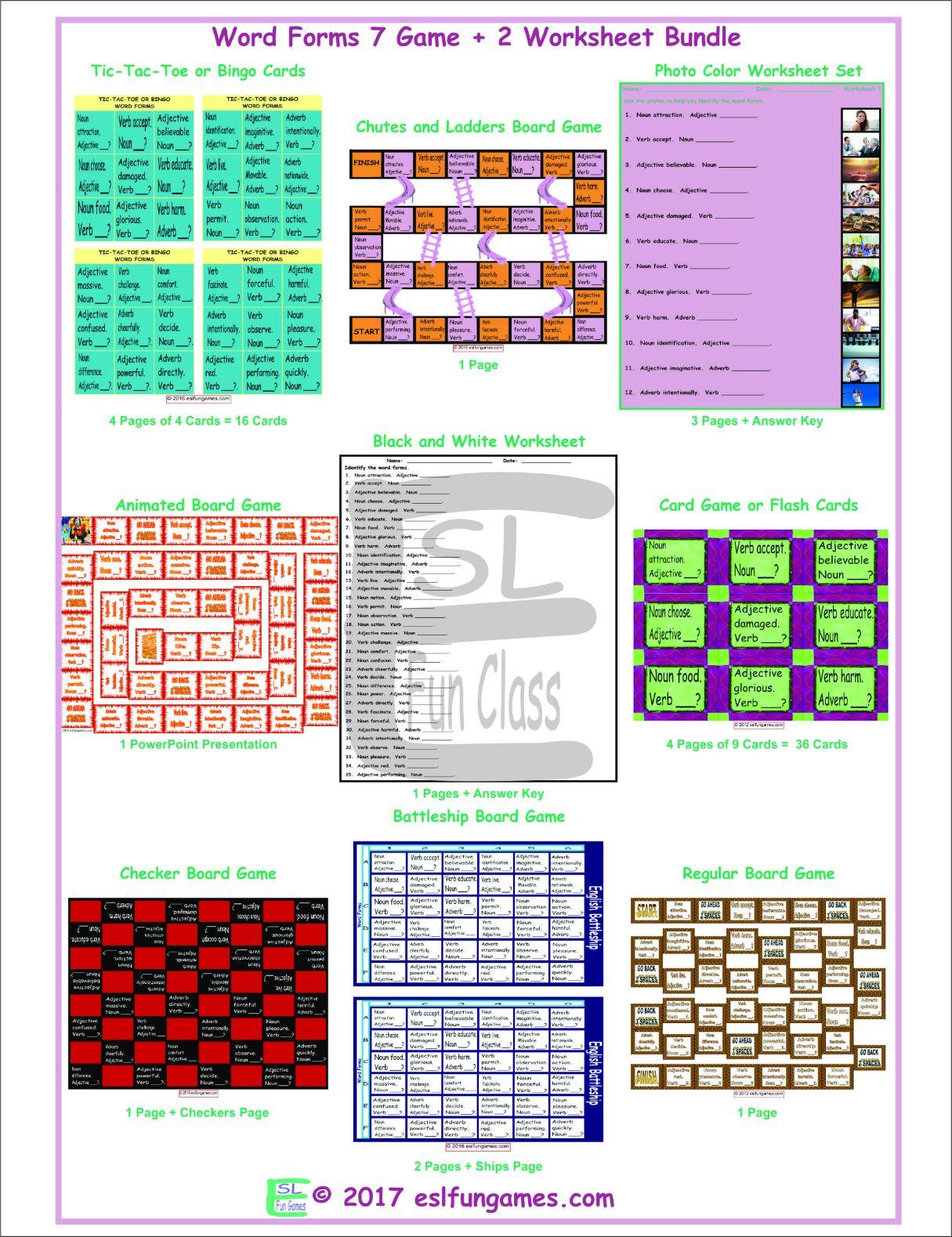 Word Forms 7 Game Plus 2 Worksheet Bundle