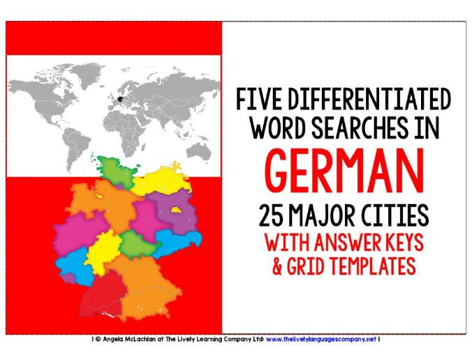 GERMAN CITIES - FIVE DIFFERENTIATED WORD SEARCHES WITH ANSWER KEY AND TEMPLATE