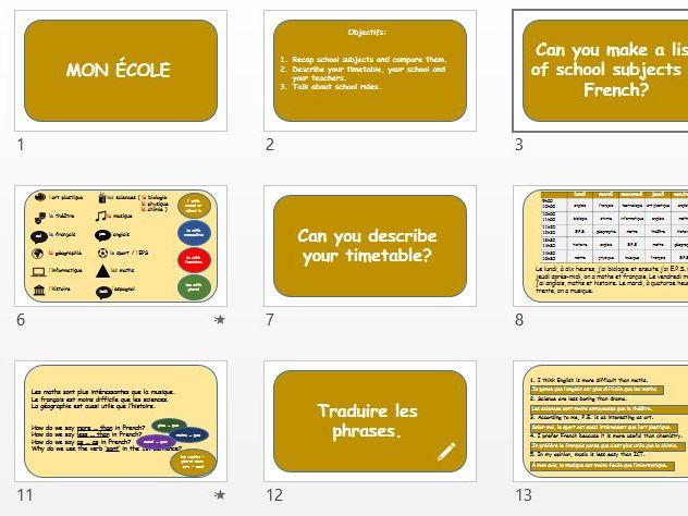 GCSE French lesson 'Mon école'