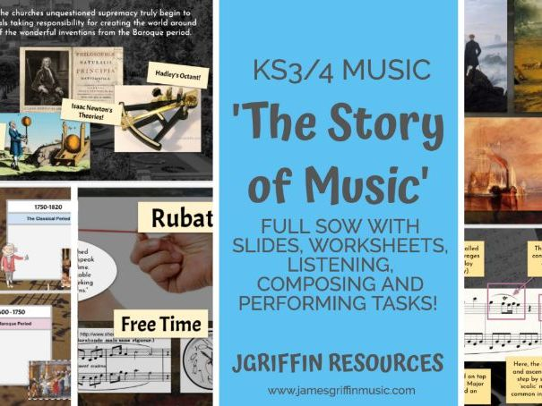 Ofsted OUSTANDING - The Story of Music SOW - KS3/4 - 7 Exciting and Engaging Lessons / Worksheets