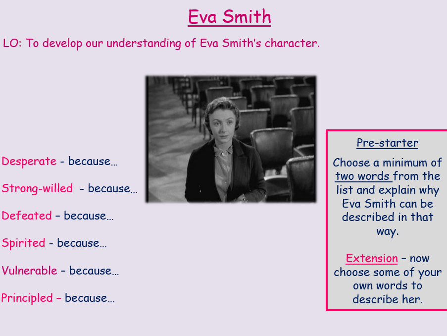 Eva Smith Revision An Inspector Calls