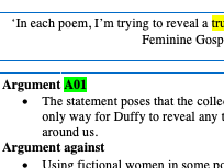 Feminine Gospels Essay Plan - Real women vs fictional