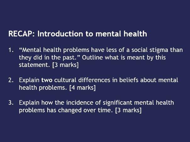 AQA GCSE Psychology - Psychological Problems - Check It Questions